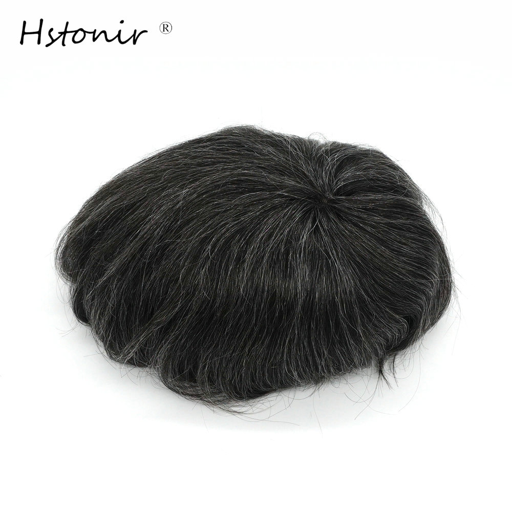 Hstonir 100% Natural Remy Hair Mens Toupee With Grey Hair 8x11