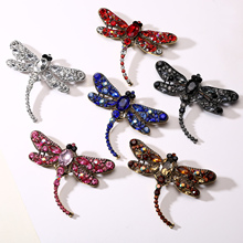 1PC Colorful Shining Rhinestone Crystal Dragonfly Shape Large Insect Brooch Gorgeous Hat Bag Clothes Accessories rhinestone insert ladybird shape brooch