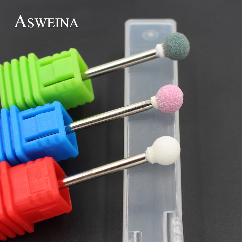 ASWEINA 2Pcs/lot Ceramic Stone Spherical Burrs Nail Art Drill Bit Electric Manicure Machine Accessories Nail Art Tools Nail File