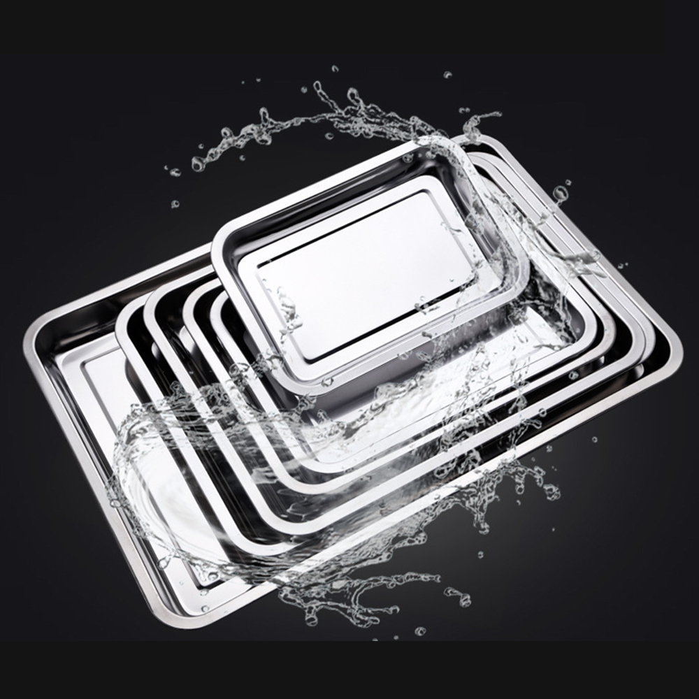 Stainless Steel Storage Trays Square Plate Thickening Pans Rectangular Tray Barbecue BBQ Rice Dishes Kitchen Accessories