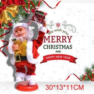 Muñeco de Papá Noel de Navidad para niños, muñeco de baile eléctrico que canta, suministros de fiesta de música de Papá Noel, regalos de Año Nuevo