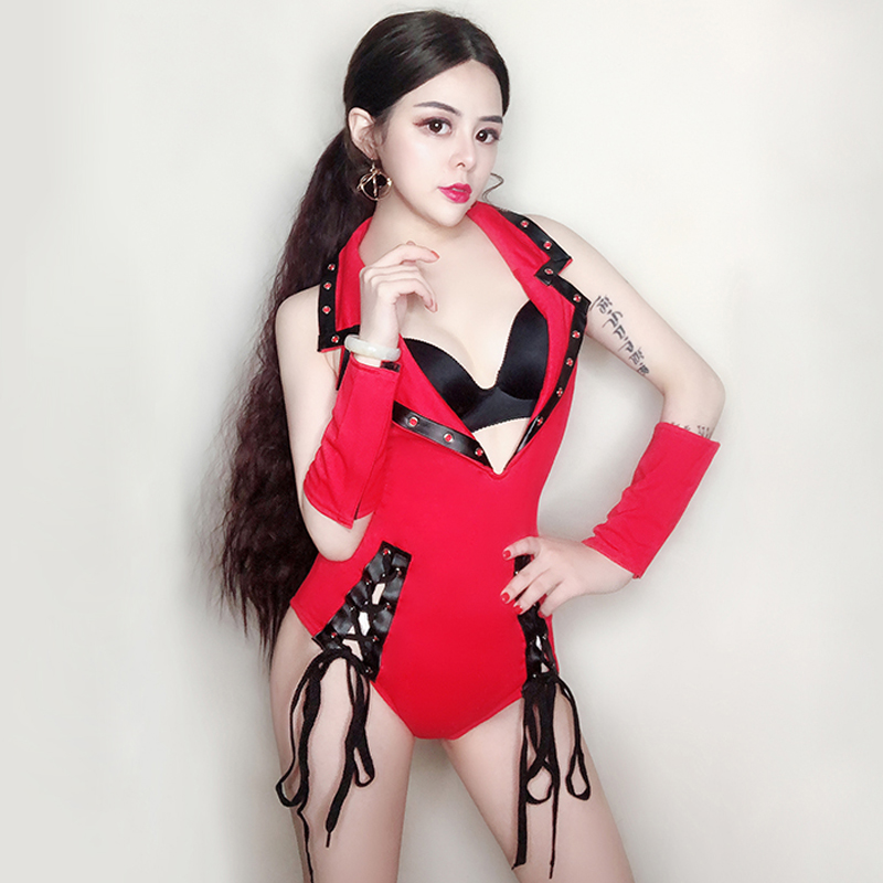 Hot <font><b>Festival</b></font> <font><b>Outfit</b></font> For Women <font><b>Sexy</b></font> Red Nightclub Jumpsuit Gogo Salsa Dress Bar DJ DS Dance Singer Stage Costumes BL1471 image