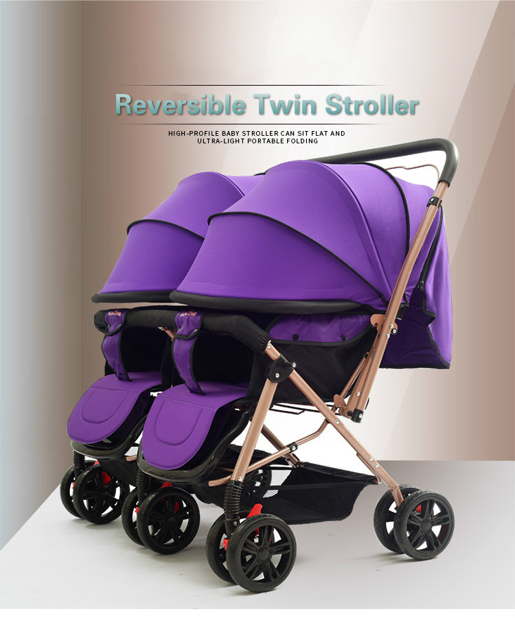 2021 Newest  Trolley Baby Strollers Lightweight Folding Front Rear Reclining Trolley Baby Double Stroller For Kids Can Lie Flat