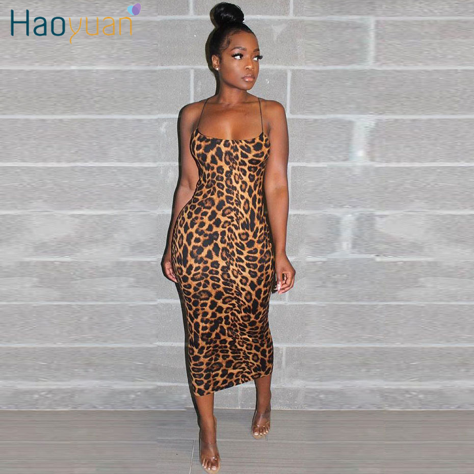 HAOYUAN Sexy Cheetah Leopard Print Midi Dress Women Clothes Plus Size Vestido Elegant Spaghetti Strap Bodycon Night Club Dresses