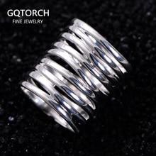 Véritable pur 925 argent Sterling tressé anneaux pour femmes Vintage torsadé large anneaux Aneis Feminino