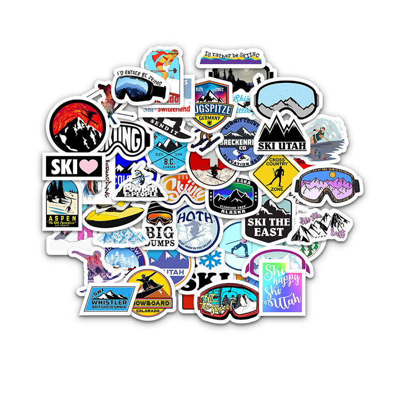 50PCS Extreme Sports Skiing Cartoon Stickers For Case Laptop Motorcycle Skateboard Luggage Decal Children Toy Sticker F5