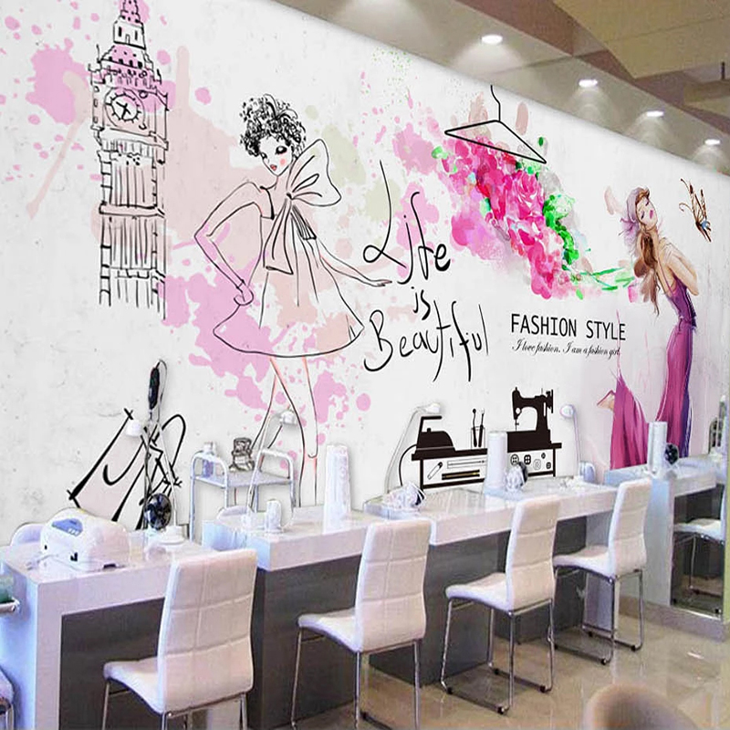 Custom Mural Wallpaper Waterproof Canvas 3D Fashion Beauty Wall Painting Fresco Cosmetics Shop Clothing Store Photo Wall Murals