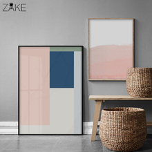 Nordic Style Coral Pink and Blue Geometric Art Canvas Abstract Painting Wall Poster Print Picture Modern Home Decoration