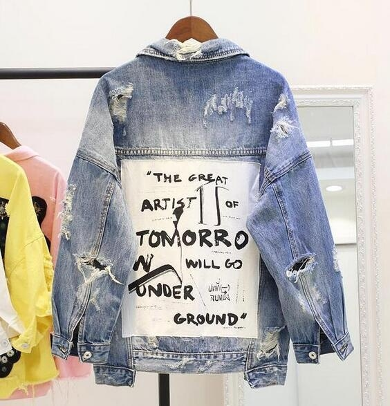 2018 Women's Graffiti Letter BF Denim Jacket Coat Loose Denim Jacket Parkas