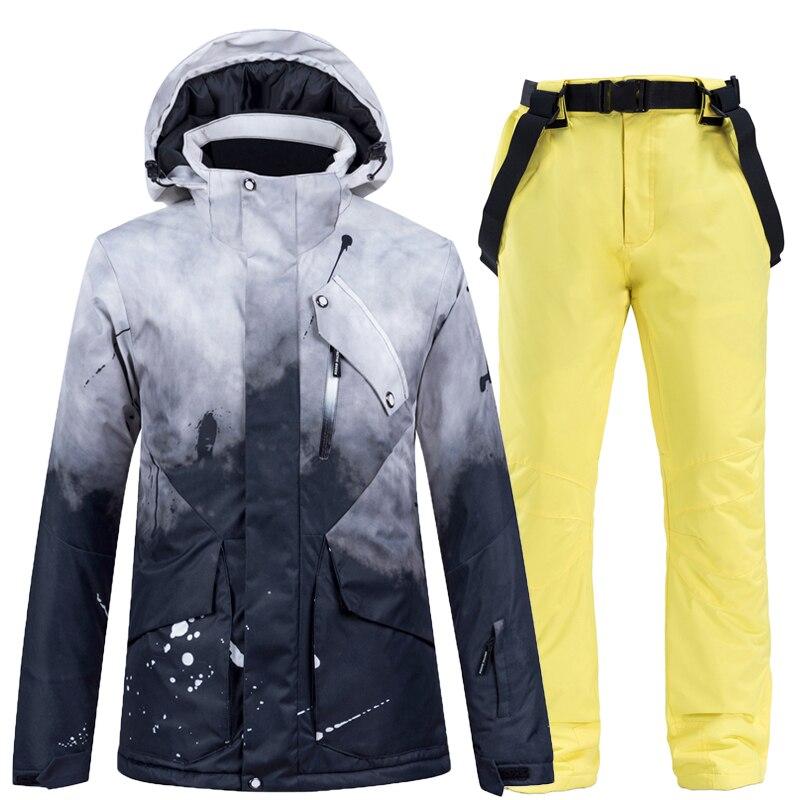 Conjuntos de Terno de Snowboard Quente à Prova Água à Prova de Vento Jaqueta de Esqui e Cinta de Neve Conjunto de Calças Graus Feminino Neve Wear Dwindproof Inverno Traje -30