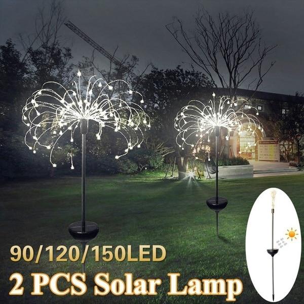 Işıklar ve Aydınlatma'ten Güneş Lambaları'de Güneş Enerjili Açık Çim Küre Karahindiba Lamba 90/120/198 Için LED Bahçe Çim Peyzaj Lambası Tatil Işık title=