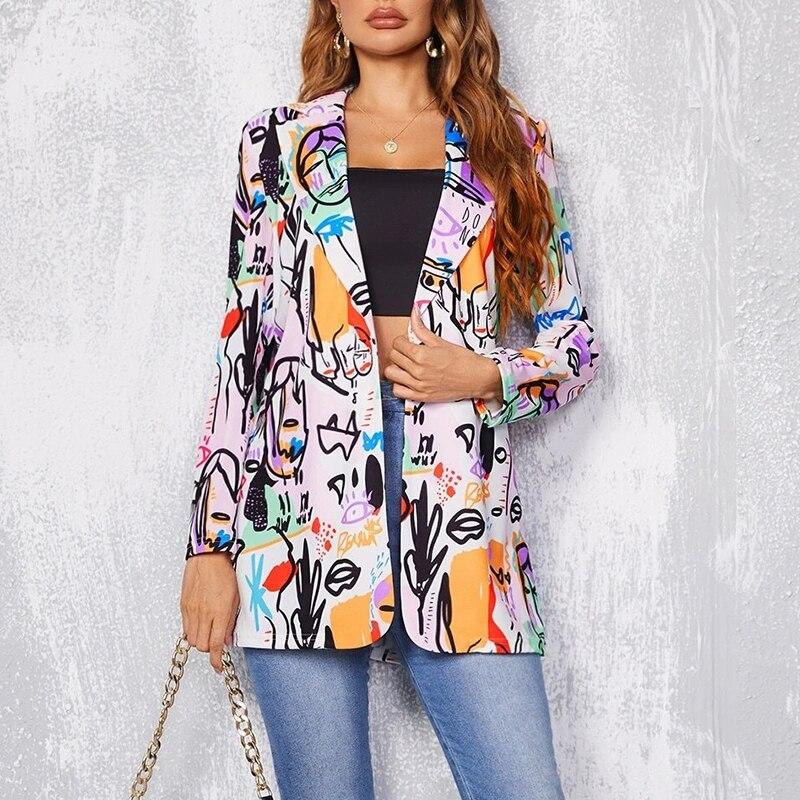 He7da5d0572ef435eadcdeb2a12e3023bP Fashion Trend Women Lapel Leopard Print Long Sleeves Suit Jacket Elegant Fall Winter Office Lady Cardigan Coat Casual Streetwear