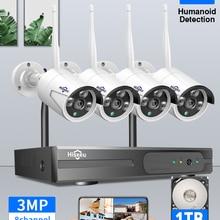Lcd-Monitor-Kit Nvr Wifi Cctv-System Ai-Ip-Camera Hiseeu Video-Surveillance 1536P Outdoor