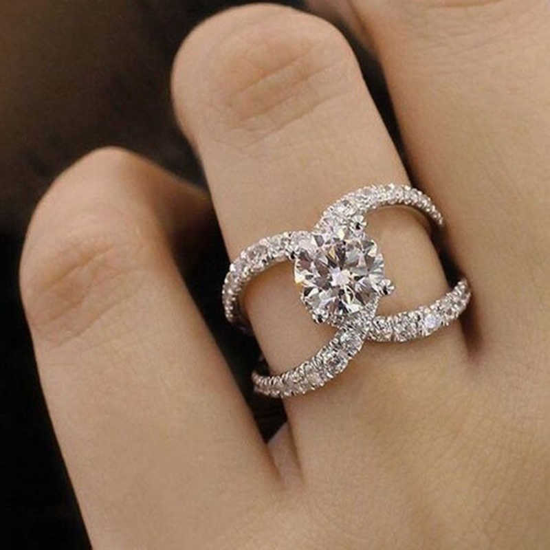 Simple Hollow Design Fashion Rhinestones Zircon Rings For Women Accessories Wedding Engagement Jewelry Gift