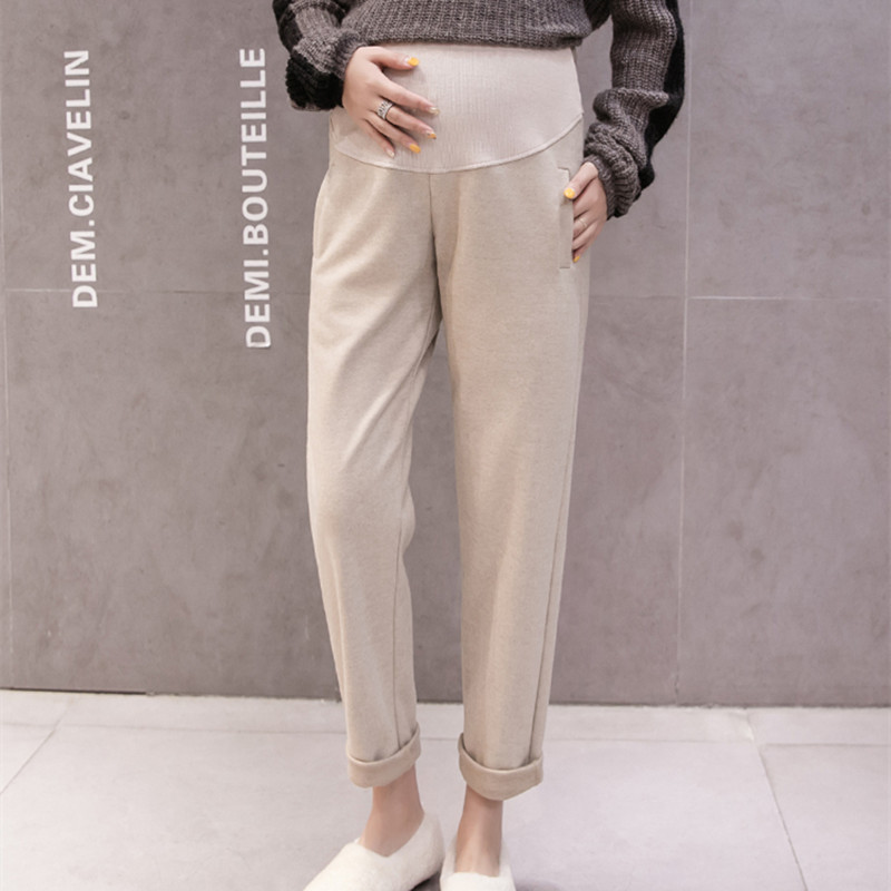 672# Autumn Winter Fashion Thick Woolen Maternity Pants Adjustable Belly Casual Clothes For Pregnant Women Pregnancy Trousers