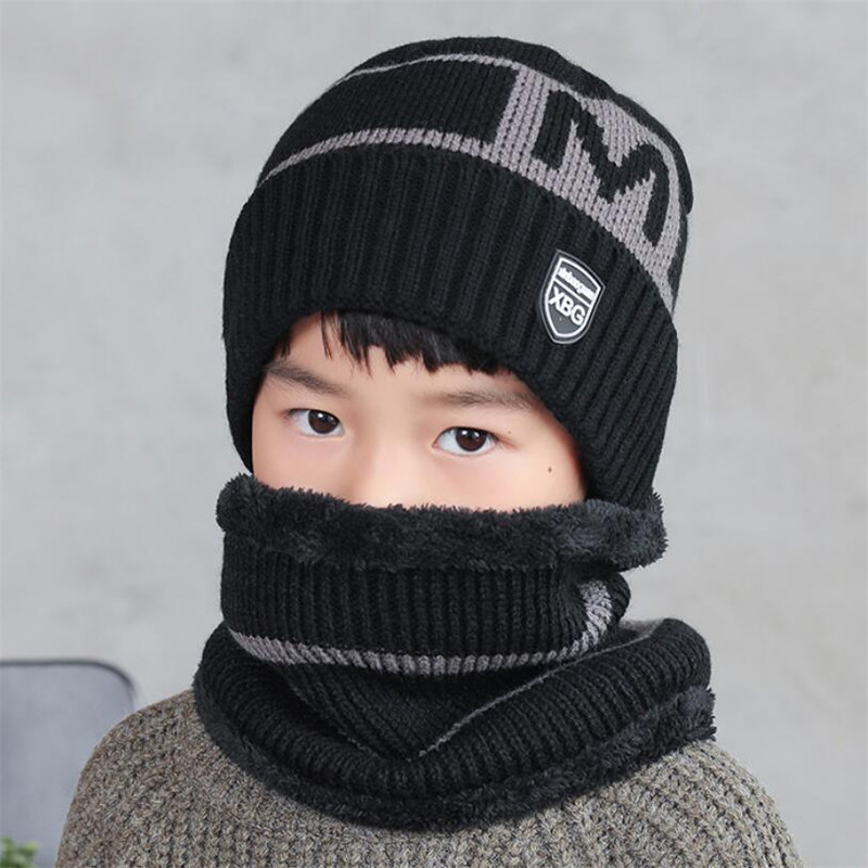 2019 Child Winter Knitted Hat And Scarf Set Boy Girls Warm Plush Hat 2 Piece Sets Kids New Outdoor Ski Cap Scarves