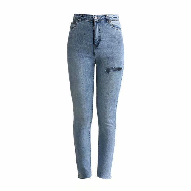 2019 Spring New Style With Holes Jeans Women's Trend Europe And America Street Snap Front And Back Cut High-waisted Slimming WOM