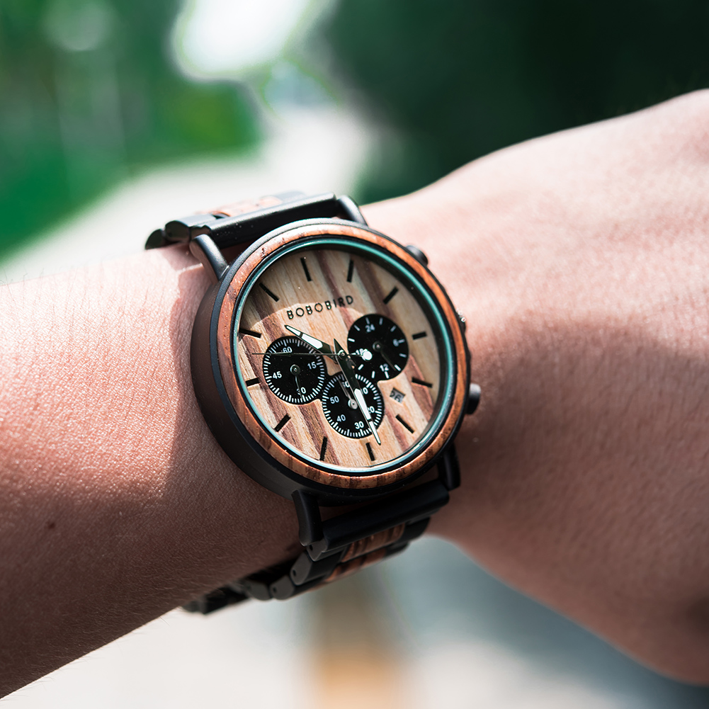 He7daa2c228c24aefaa6e9b1b004b4263E BOBO BIRD Wooden Watch Men erkek kol saati Luxury Stylish Wood Timepieces Chronograph Military Quartz Watches in Wood Gift Box