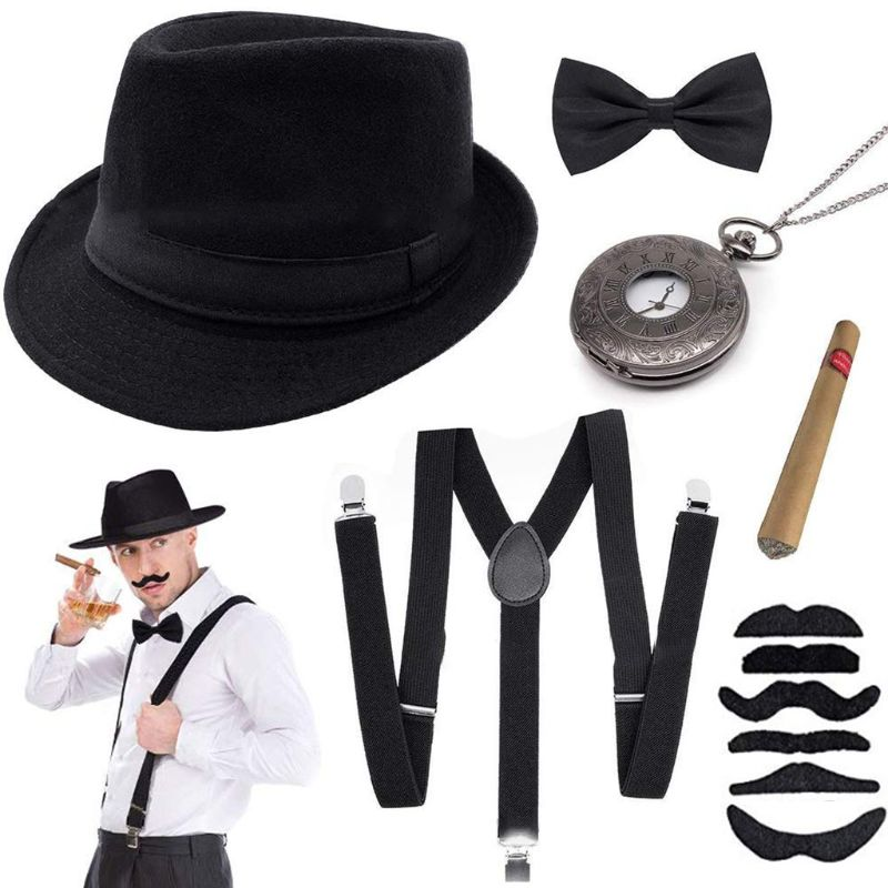 1920s Mens Gatsby Costume Set Panama <font><b>Gangster</b></font> Jazz Hat Y-Back Suspender Bow Tie M6CD image