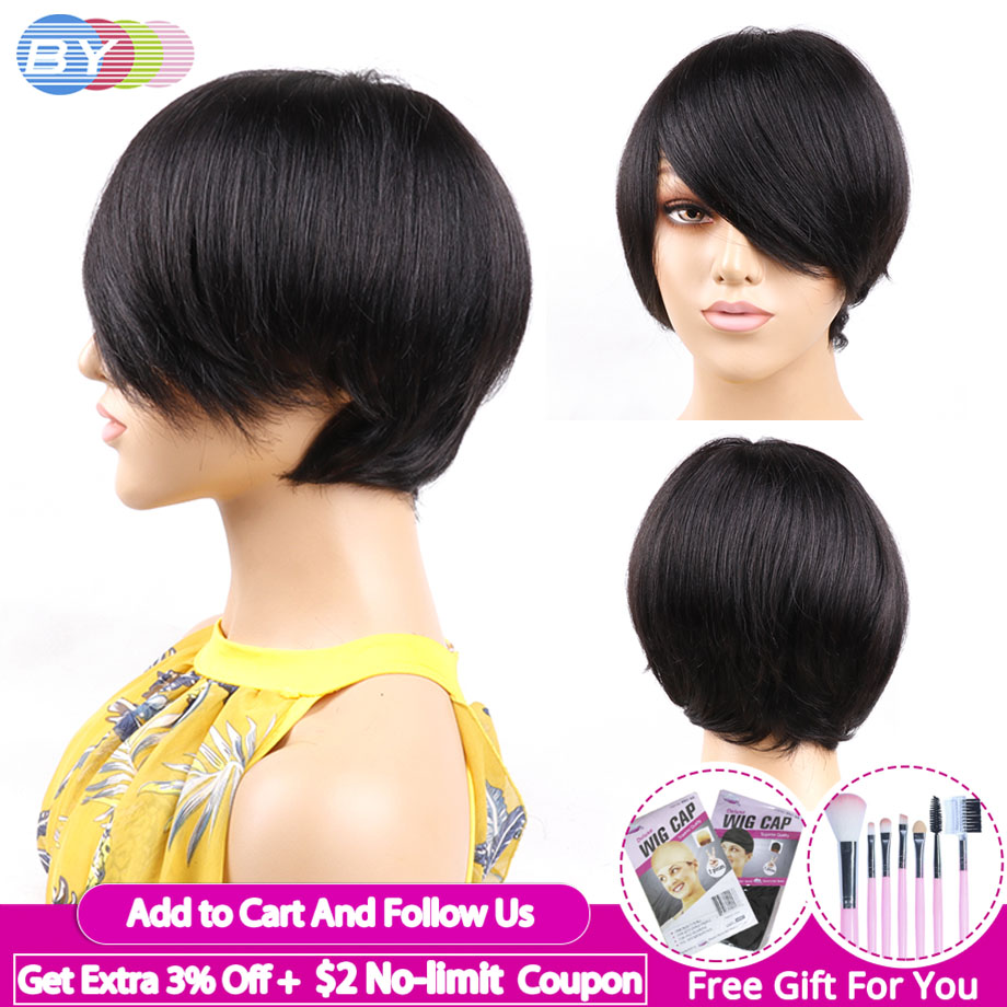 Short Human Hair Wigs For Black Women Perruque Pixie Cut Wig Brazilian Straight Hair Bob Wigs Non-Remy 1Piece Free Shipping BY