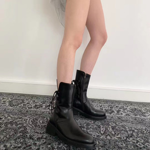Image 5 - Buono Scarpe Brand Women Cross Tied Ankle Boots Fashion Black Laces Botas Fenimina Casual Zipper Motorcycle Chunky Boots 2019