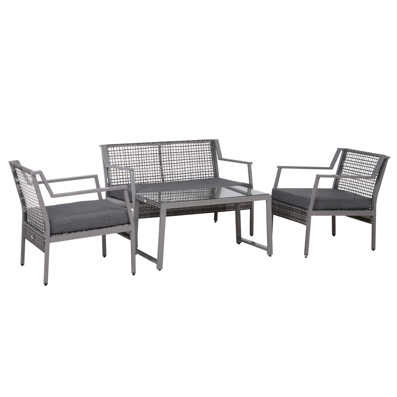 Outsunny Set Garden Furniture 4 Pieces 1 Sofa, 2 Chairs, 1 Tempered Glass Coffee Table Rattan Brown