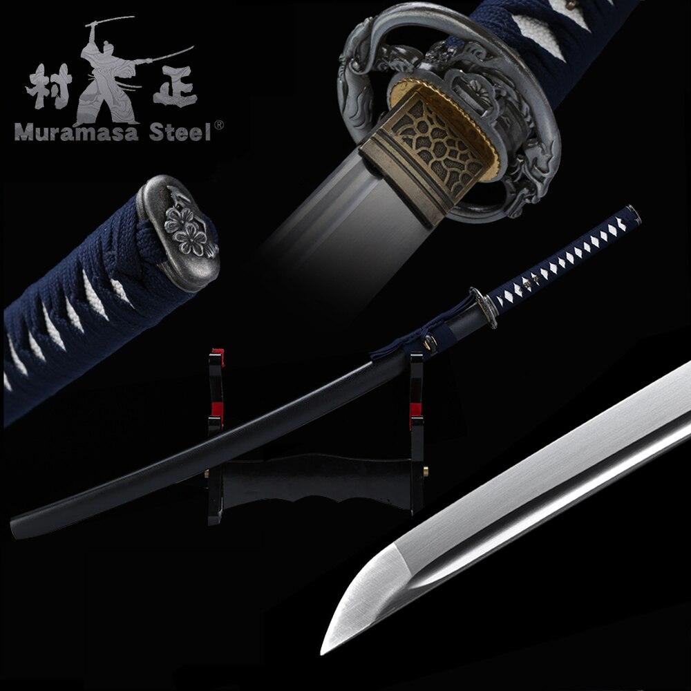 Handmade Real Japanese Katana Spring Steel Blade Full Tang Sharp Ready For Battle Wood Sheath 41