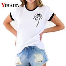 Ulzzang Women 3D T Shirts Floral Print Graphic Tee Creative Flower T-shirt Summer Short Sleeve White Casual Unisex Tops short sleeve floral graphic tee