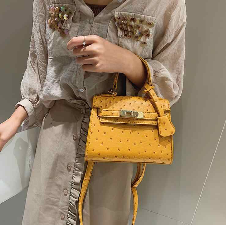 Ostrich pattern Pure Color  Fashion Women Handbag Buckle Small Tote Bag Lady Luxury Designer Crossbody Messenger Bags