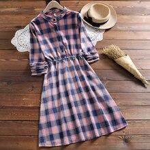 Японский Мори девушка зимнее платье женский длинный рукав проверенный плед вельветовые платья Япония студентов Vestidos Одежда
