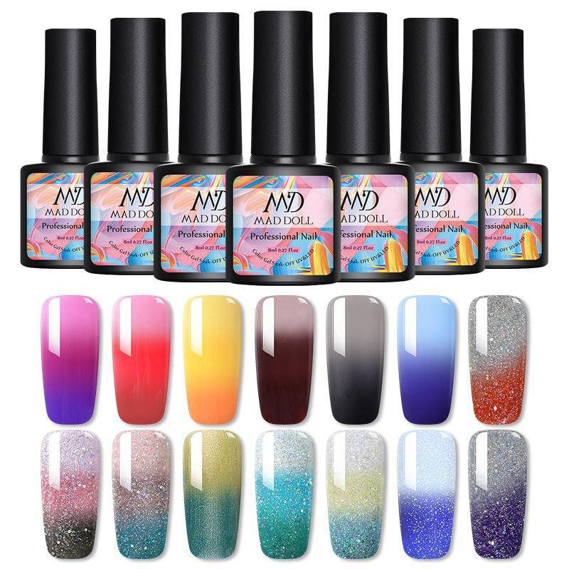MAD DOLL 1 бутылка 8 мл цвет меняющий УФ Гель-лак блестки термальный гель для ногтей отмачиваемый Гель-лак для ногтей 14 цветов