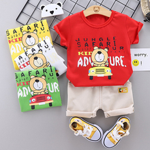 цена на Baby Clothing Set for Boys Girls Cute Summer Casual Bear Tops T shirt Shorts Sport Suit Kids Clothes Children Clothing 1-4 Years