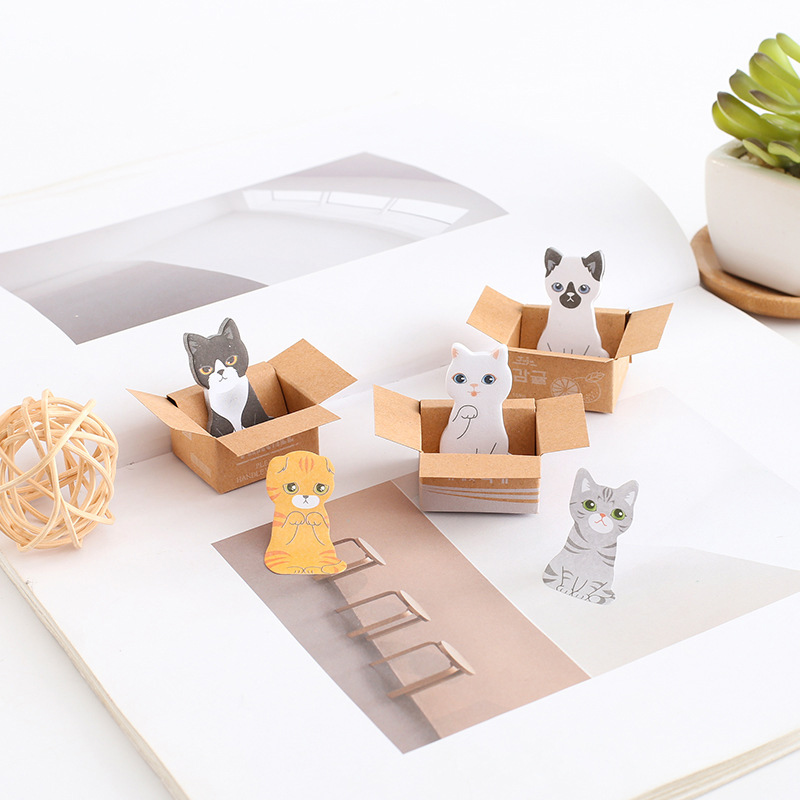 Cute Cat Box Memo Pads Kawaii Dog Sticky Notes Writing Stickers For Kids DIY Stationery School Office Supplies
