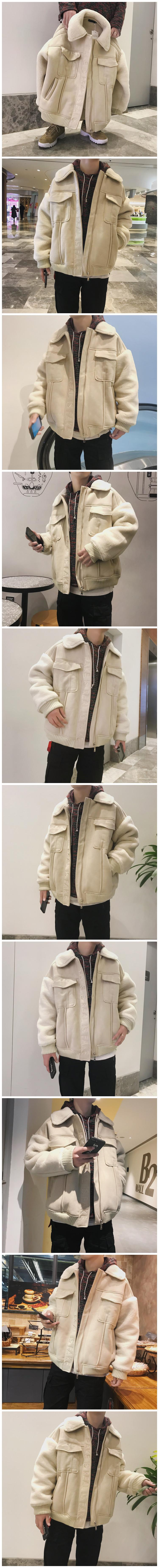 19 winter new man imitation lambs cultivate one's morality cotton-padded clothes and fine hair thickening cotton-padded jacket 1