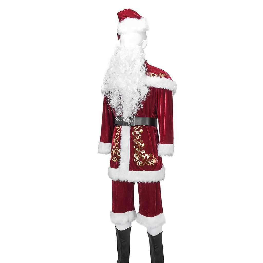 איש סנטה קלאוס חג המולד קוספליי סט עם חגורת סט Dropshipping ערב חג המולד ארוך שרוול תלבושות לשחק חליפת לשנה חדשה # SS
