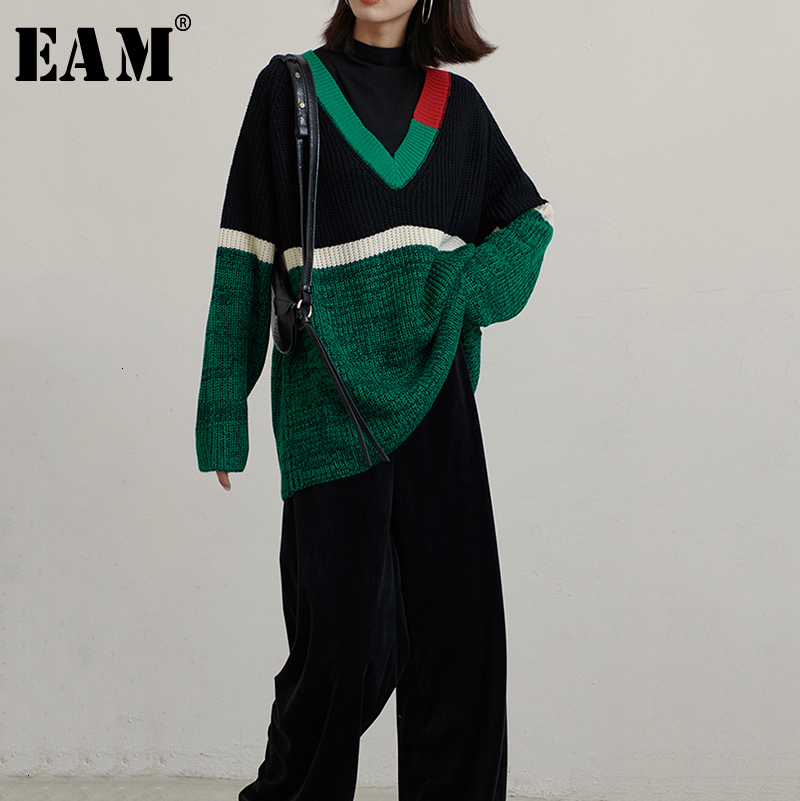 [EAM] Green Contrast Color Big Size Knitting Sweater Loose Fit V-Neck Long Sleeve Women New Fashion Autumn Winter 2019 1D8720