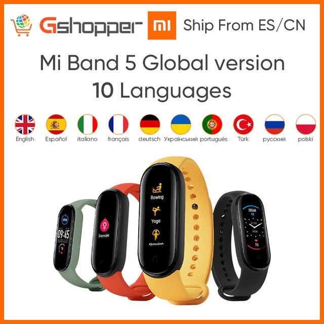 מקורי Xiaomi Mi Band 5 הגלובלי גרסה 9 שפות חכם Miband מסך צמיד קצב לב כושר ספורט Bluetooth צמיד