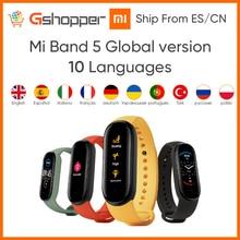 Оригинальный Смарт браслет Xiaomi Mi Band 5 глобальная версия 9 языков Mi Band экран пульсометр Фитнес Спортивный Bluetooth браслет