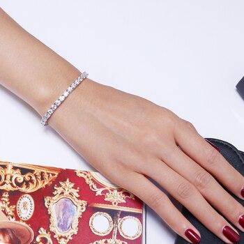 Classic 17.5 cm tennis bracelets Real 925 silver jewelry 2mm 3mm 4mm 5A Zironia Eternal wedding luxury sterling silver Bracelet 5