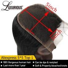 ישר 5X5 תחרה סגירת עם עמוק פרידה 8 20 אינץ 100% ברזילאי רמי שיער טבעי סגירת מולבן קשרים עם תינוק שיער