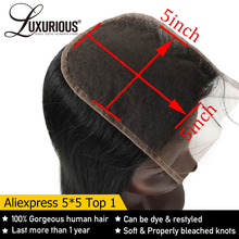 Straight 5X5 Lace Closure With Deep Parting 8 20inch 100% Brazilian Remy Human Hair Closure Bleached Knots With Baby Hair
