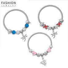 1 Pc New Stainless Steel Bracelet Colored Loving Heart Bracelet Fashion Bracelet Women Elegant Bracelet stainless steel bracelet men s bracelet women s bracelet elastic bracelet retro bracelet women s personality bracelet
