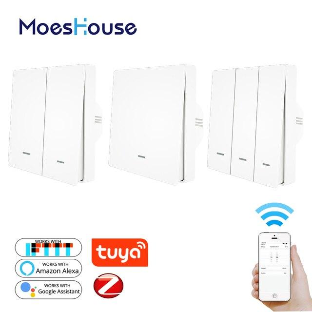 Interrupteur 3.0 boutons et boutons pour luminaire Tuya ZigBee Hub requis, télécommande avec application Smart Life, fonctionne avec Alexa et Google Home