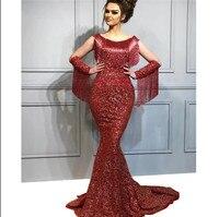 Tassel Beaded Glitter Evening Dresses 2019 New Arrival Arabic Couture Long Prom Dresses Aibye Mermaid Party Dress Abendkleider