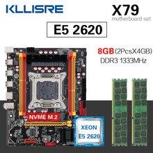 Комплект материнской платы Kllisre X79 с LGA2011 combos Xeon E5 2620 ЦПУ 2 шт. x 4 ГБ = 8 Гб памяти DDR3 ECC ОЗУ 1333 МГц
