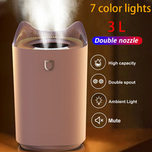 2021 casa umidificador de ar 3l bico duplo névoa fria difusor aroma com coloful led luz névoa pesada ultra sônica usb humidificador