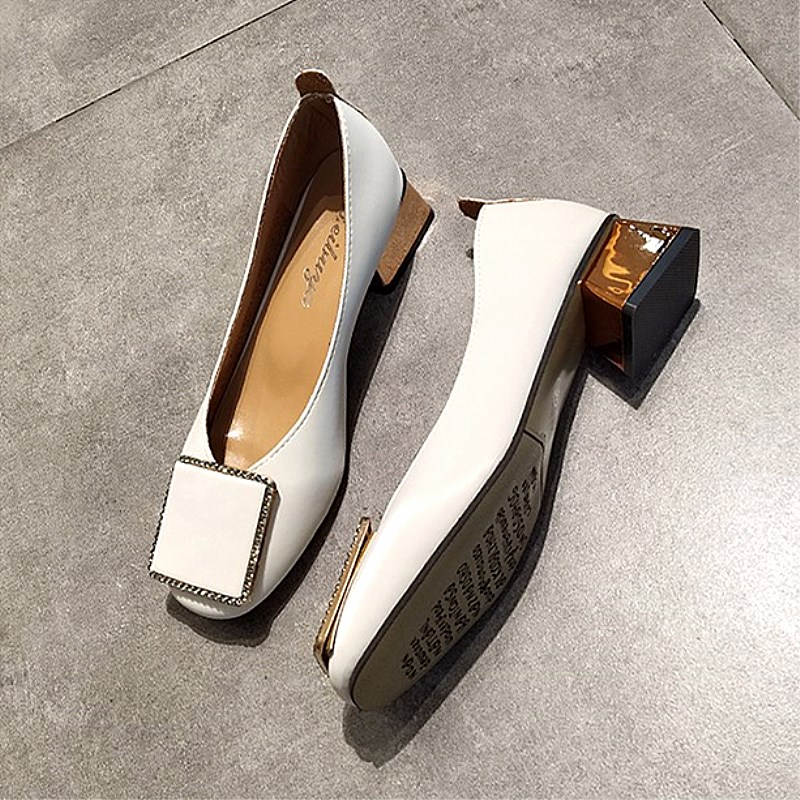 EOEODOIT Square Heel Square Toe Leather Pumps Shoes Women Summer Autumn Shallow Mouth Casual Office Lady OL Shoes 5 Cm Heel