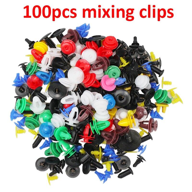 6 размеров, 100 шт., автомобильный крепежный зажим, смешанный фиксатор для кузова автомобиля, заклепки бампера, накладка на дверь, комплект фиксаторов - Название цвета: 100pcs mixing clips