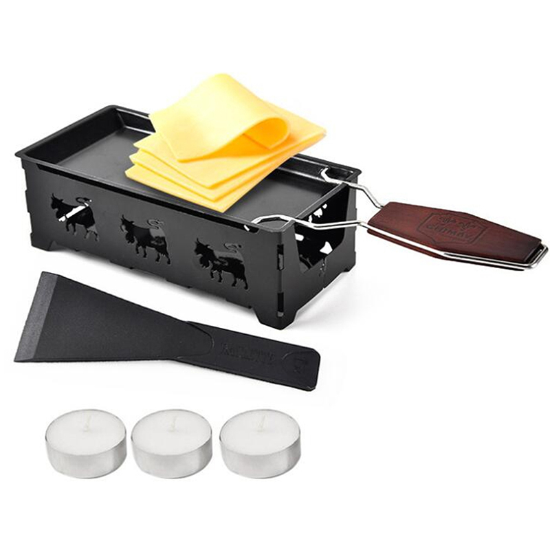Grill Cheese Raclette Set Non-stick Griller Mini BBQ Cheese Board Baked Cheese Oven Iron Swiss Cheese Melter Pan Tray image