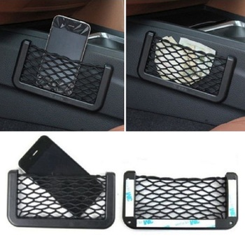 Universal Car Seat Side Back Storage Net Bag Phone Holder Pocket Organizer Seat Back Bag Black image